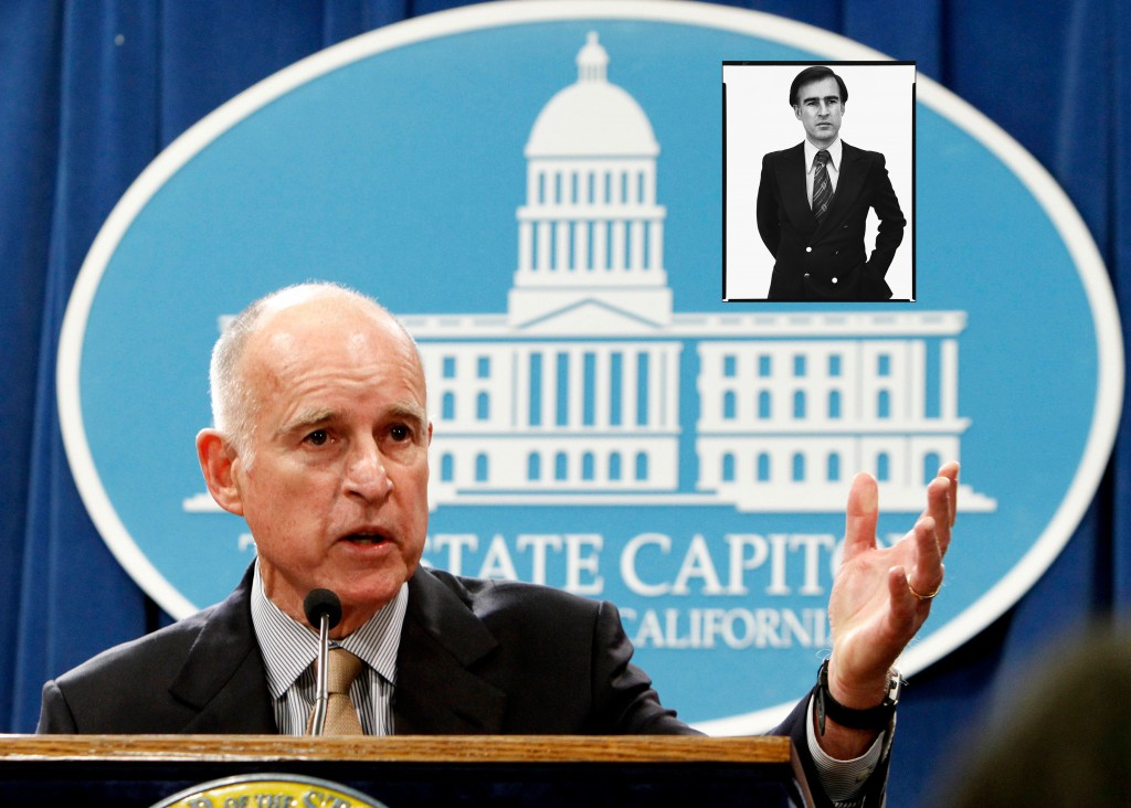Jerry Brown nu en in 1976 (zie inzet)